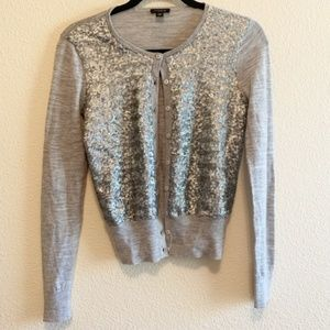 Ann Taylor Cardigan Gray w/Silver Sparkle Accents